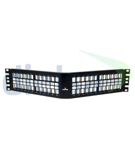 Patch Panel Negro Angulado Vacio 48 Puertos, 2 UR Quickport